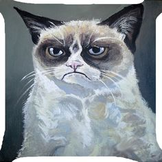 "Grumpy cat kitten funny kitty pet 2 side pillow case cushion Cover handmade 18"" #Handmade"