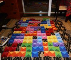 Tetris Quilt - I love that she took the time to piece together all the triangles for the 3-d effect- looks so good!  Tetris Quilt - In the Process by Bella-Aurora