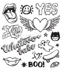 A set of grunge doodles and badges to draw or embroider on to fashion items like denim jackets. : A set of grunge doodles and badges to draw or embroider on to fashion items like denim jackets. Trippy Drawings, Doodle Drawings, Cute Drawings, Random Drawings, Doodle Art, Mini Tattoos, Cute Tattoos, Small Tattoos, Ship Tattoos