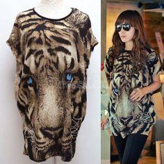 Women's Batwing-sleeve Tiger Animal Print T-shirt Spring-Summer