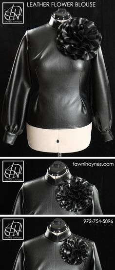 Leather Tawni Haynes Circle Flower Blouse. Available in Faux Leather or Genuine Lambskin @ http://shop.tawnihaynes.com/ProductDetails.asp?ProductCode=cfb-lthr or call 972-754-5096