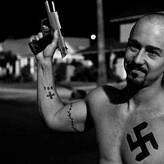 American History X. This man is so sexy minus the Nazi symbol.