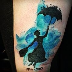 Mary Poppins tattoo. Tribute to my Nanny. First name was Polly, married name was Teale so teal behind, last married name was Speed so PS I Love You at the top.