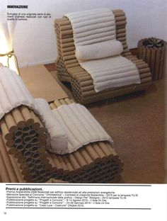 ECODESIGN - FURNITURE (ARMCHAIR) MADE UP RECYCLING PLOTTER TUBE