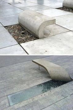 Peeled concrete benches