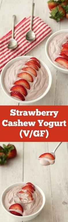 Strawberry Cashew Yogurt - creamy, smooth and perfectly sweet. #vegan #lovingitvegan #breakfast #yogurt #dairyfree #glutenfree
