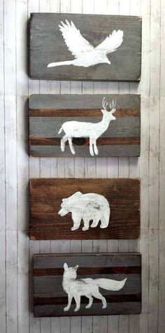 cool Woodland Nursery Decor Reclaimed Wood Set, Tribal Decor, Rustic Nursery, Hunting Nursery, Pheasant Bear Deer and Fox Wolf, Kids Room Decor