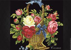 """Купить Ретро схема """"Корзинка старинных роз"""" - комбинированный, схема для вышивки, схема"""