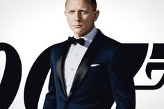 Here is Daniel Craig in the James Bond film Skyfall wearing a midnight blue dinner suit with black satin lapels.