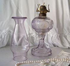 Antique Oil Lamp Purple Glass Table Lamp Amethyst Oil Lamp Purple Glass RARE Original Chimney Signed Antique Home Decor Mid 1800s
