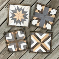 Handmade Geometric Wood Art. This set of 4 comes at a discounted price! Each piece is stained, cut, and arranged to create an eye-catching pattern to enhance any space. Perfect for a housewarming, anniversary, Christmas, wedding, or birthday gift! • Each piece measures 12 x 12