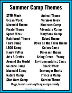 Summer Camp Themes – The Best Summer Themes for Kids – Natural Beach Living - Camping Ideas Camping Ideas, Camping Activites For Kids, Day Camp Activities, Preschool Summer Camp, School Age Activities, Summer Day Camp, Summer Camp Crafts, Summer Camps For Kids, Camping Theme