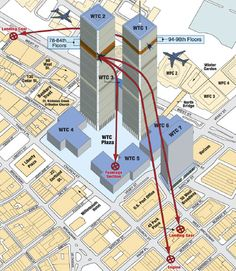 World Trade Center 9/11 Map: While the topic of this graphic is disturbing, it does effectively show how parts from planes damaged buildings beyond WTC 1 2.