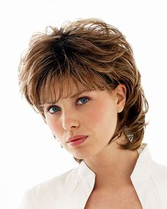 Buy Natural Brown Hair Full Wig Short Curly Wigs for Women Fashion Hair Accessories Wigs for Ladies Short Wavy Wigs Heat Resistant Fiber Hair Synthetic Wigs Costume Party Daily Wear Hair Replacement Wigs with Bangs at Wish - Shopping Made Fun Short Curly Wigs, Short Hair Updo, Short Wavy, Short Pixie, Choppy Bob Hairstyles, Easy Hairstyles, Pixie Haircuts, Trendy Haircuts, Teenage Hairstyles