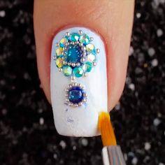 Nail Art Designs Videos, Simple Nail Art Designs, Nail Art Videos, Beautiful Nail Designs, Gem Nails, Hair And Nails, Cute Nails, Pretty Nails, Asian Nails