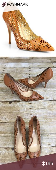 """Kate Spade Lana Laser Cut Heels Eyelet-like cutouts and a scalloped topline make this pointy-toe pump a lacy finish to your look. 4"""" heel. Leather upper, lining and sole. Beautiful camel color. Retails $350.  Only worn once, great condition. I accept offers and have a 30% bundle discount! kate spade Shoes Heels"""