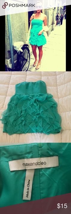 Stunning aquamarine mini What a cute mini dress 👗! Strapless, cute ruffle/feather details on skirt, extremely flattering. That's my sister wearing it in the first pic 🤗. Effortlessly chic, Sex & The City style if you ask me! Can be styled up or worn casual. Worn only once and dry cleaned. It's flawless. Max & Cleo Dresses Mini