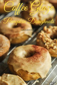 Coffee Glazed Pumpkin Doughnuts are my second pumpkin doughnut post of the season. Donut ask me why but am getting rather obsessed with this doughnut making Baked Doughnut Recipes, Baked Doughnuts, Waffle Recipes, Brunch Recipes, Pie Recipes, Fall Recipes, Delicious Donuts, Yummy Food, Donut Hole Recipe