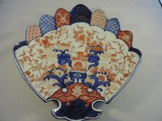 This is a 19th Century Japanese Imari Scallop Edged Fan Shaped Dish. Apart from some minor rubbing of glazing it is in really good condition with no chips or cracks and no repairs. Antique Auctions, Scalloped Edge, Glaze, 19th Century, Chips, Japanese, Fan, Dishes, Antiques
