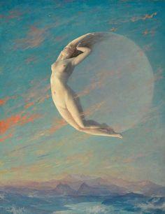 Selene painting by Albert Aublet, Moon goddess art print, Celestial wall art, Luna, Vintage nude wom
