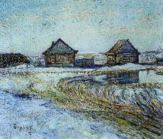 Printemps dans la campagne, huile sur toile de David Burliuk (1882-1967, Ukraine)