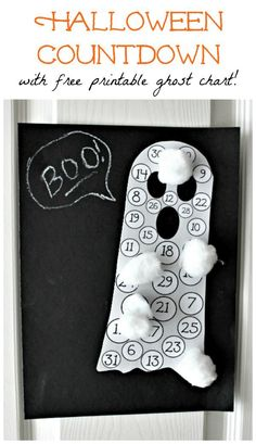 DIY Halloween Advent Calendar for Kids - use cotton balls to count down how many days until Halloween! Science Halloween, Theme Halloween, Halloween Crafts For Kids, Halloween Activities, Halloween Ghosts, Holidays Halloween, Halloween Diy, Halloween Games, Monster Activities