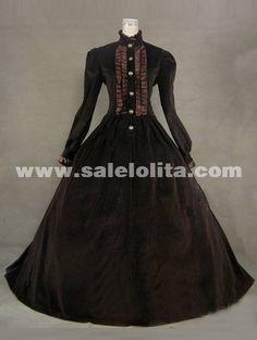 2014 Elegant Brown Vintage Long Sleeve Ruffles 17th 18th Century Renaissance Dresses Medieval Civil War Victorian Ball Gowns