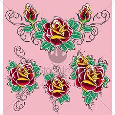 Rose Tattoo Traditional Tattoo Flowers, Flower Tattoos, Tattoo Designs, Tattoo Ideas, Tattoo Images, Adobe Illustrator, Vector Free, Clip Art, Rose
