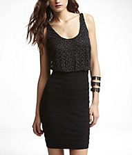 CROCHET TOP PONTE KNIT DRESS from Express.  $29.99 now at Express.com and take an additional 30% off!