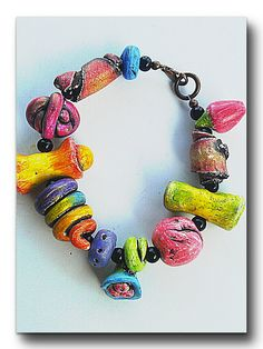 Polymer Pencil Box Beads Polymer Bead Bracelet by OutofTimeDesigns