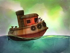 Will Terry - Children's Book Illustrator Children's Book Illustration, Graphic Design Illustration, Book Illustrations, Will Terry, Tug Boats, Children's Picture Books, Naive Art, Environment Design, Photomontage