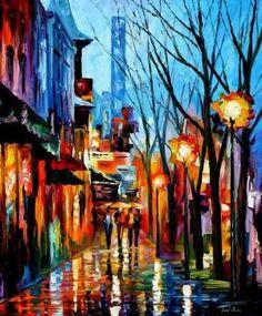 """Afremov Art Leonid Oil Paintings   ... PALETTE KNIFE Oil Painting On Canvas By Leonid Afremov - Size 36""""x30 by selenitoz"""