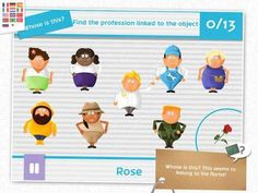Match & Play - Jobs - a set of 4 games which will help kids discover tools used by a fisherman, an archeologist or a footballer objects and tools): Odd ones out, Whose is this, Pairs and the Missing Objects. 6 Year Old Boy, Best Apps, Old Boys, Boy Or Girl, Preschool, Help Kids, Play, Education, Objects
