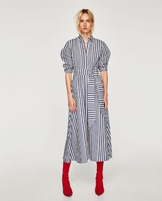 This season's key dresses at ZARA online. Enter now and discover all the dresses of the new collection at ZARA. Red Shirt Dress, Striped Shirt Dress, Cute Long Sleeve Dresses, Chemise Fashion, Zara Shirt, Zara Dresses, Midi Dresses, Tunic Dresses, Shirt Style