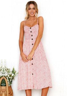 Polka-dot dress Sundress with Pocket Beach Dresses, Summer Dresses For Women, Short Sleeve Dresses, Midi Dresses, Floral Dresses, Dot Dress, Dress Flower, Cotton Dresses, Fashion Dresses