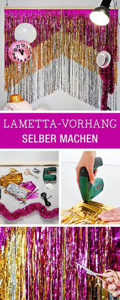 DIY-Anleitung für einen bunten Vorhang aus Lametta, Partydeko für die Silvesterparty, Weihnachtsparty / decorate your christmas party with a glittering curtain, metallic backdrop via DaWanda.com