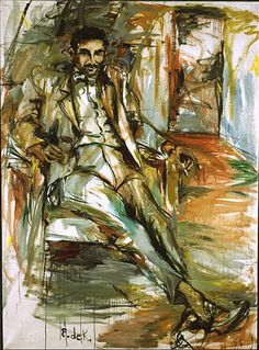 """Elaine de Kooning """"Harold Rosenberg 3""""  1956.   Just lush, self indulgent painting.  An amazing, coherent whole work.  He was one of the outstanding art critics of the time.  Drips of abstract impressionism, heavy gestural brush strokes.  Sort of separates on you visually then comes back together.  Master of gestural artwork.  Hung out with Grace Hartigan, these women hung on to the status quo, they had a hard time getting into the circle of the abstract expressionist.. a man's game."""