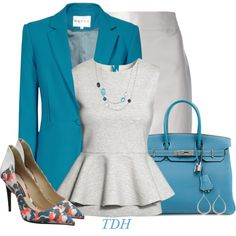 A fashion look from September 2014 featuring shirts & tops, slim blazer and gray pencil skirt. Browse and shop related looks.
