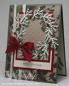 Timelessly elegant colours and wreath design. #Christmas #cards #paper_crafting