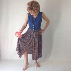 Chambray Rayon Boho Shabby chic Hippy Dress by EleanorFayesFashion, $31.00