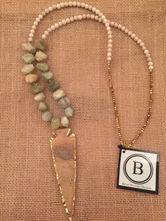Betsy Pittard Cream, Pyrite and Green Beads with Light Jasper Arrowhead Necklace