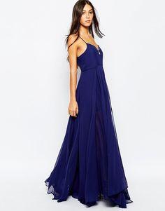 Religion Maxi Evening Dress with Thigh Split Dark Navy Size XS UK 8/EU 36/US 4