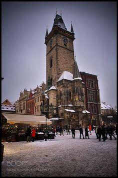 Prague under snow by amatverny
