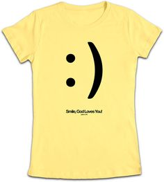 """This bright yellow T-shirt is simple and is sure to put a """"Smile"""" on anyones face that sees it :) You can text, or tweet, or just put on this T-shirt - just thinking of God's amazing love for us should bring a smile to your face, and this design is the perfect vehicle to share that! Inspired by John 3:16 """"For God so loved the world that he gave his one and only Son, that whoever believes in him shall not perish but have eternal life."""" - John 3:16"""
