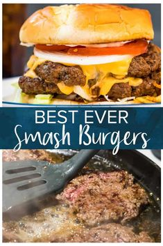 These Smash Burgers are destined to be your favorite burgers! Crispy edges and a juicy middle these skillet patties really hit the spot and are easy to whip up. Housed between two potato buns that soak up the juice this is the ultimate bite! Burger Patty Recipe, Burger Recipes, Grilling Recipes, Meat Recipes, Cooking Recipes, Healthy Recipes, Best Skillet Burger Recipe, Skillet Burgers, Cooking