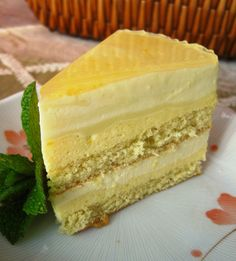 ... genoise with mango mousse and coconut bavarian cream, topped with a