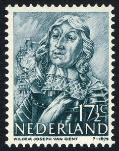 Stamp: Wilhelm Joseph van Gent (1626-72) admiral (Netherlands) (Heroes at sea) Mi:NL 416,Sn:NL 256,Yt:NL 406,NVP:NL 416