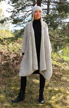 PDF pattern. Hand knitted one size mantle - poncho and hat set. Digital pattern from Ilze Of Norway.