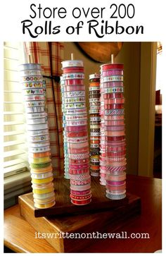"""It's Written on the Wall: Craft Room Organizing-Store over 200 Rolls of Ribbon in a 12"""" square Space! #Crafts Craft Organization"""
