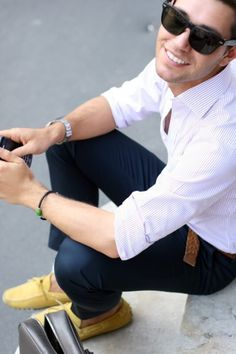 Elegantly Nonchalant: White striped Shirt w/ Navy Trousers & Yellow Loafers